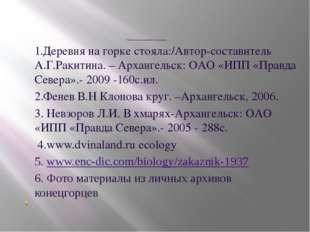 Список использованной литературы 1.Деревня на горке стояла:/Автор-составител