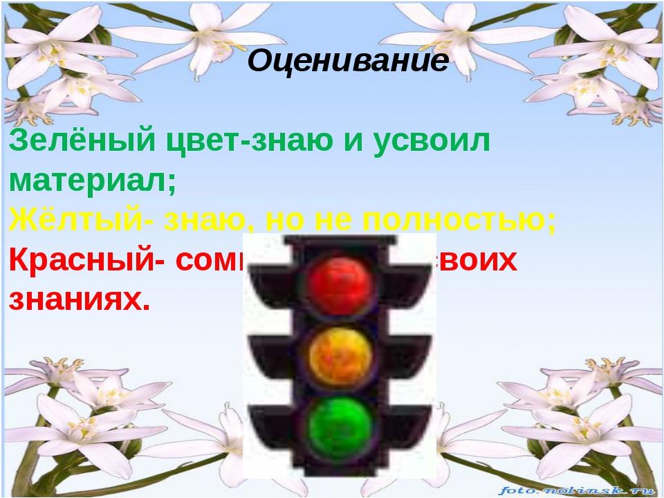 Оценивание Зелёный цвет-знаю и усвоил материал; Жёлтый- знаю, но не полность...