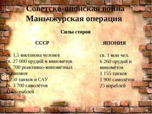 Силы сторон . Советско-японская война Маньчжурская операция СССР св. 1,5 милл