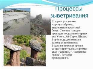 Процессы выветривания Штормы усиливают морскую абразию, видоизменяя крымский