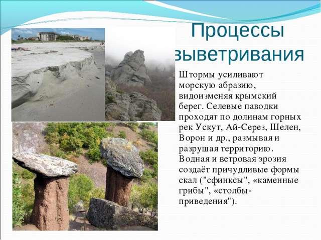 Процессы выветривания Штормы усиливают морскую абразию, видоизменяя крымский...