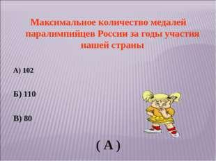 Максимальное количество медалей паралимпийцев России за годы участия нашей ст
