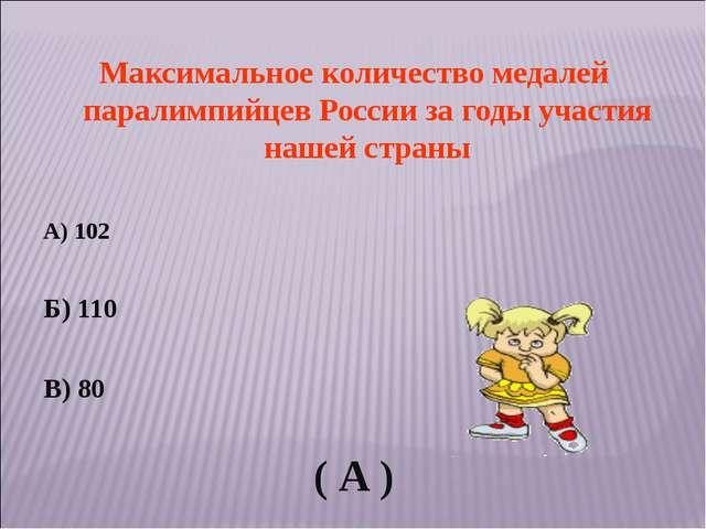Максимальное количество медалей паралимпийцев России за годы участия нашей ст...