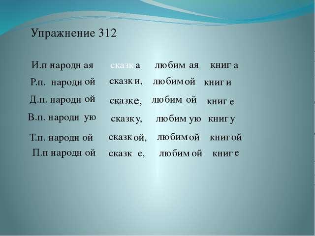Упражнение 312 И.п народн ая сказк а любим ая книг а Р.п. народн ой сказк и,...