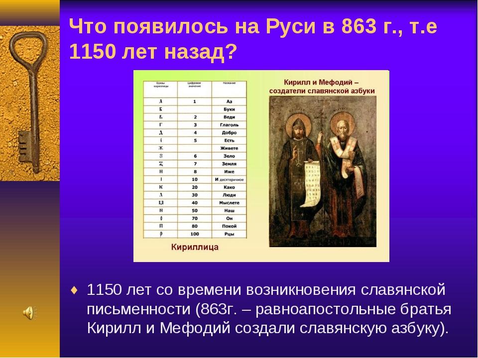 Что появилось на Руси в 863 г., т.е 1150 лет назад? 1150 лет со времени возни...