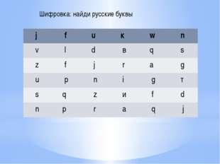 Шифровка: найди русские буквы j f u к w n v l d в q s z f j r а g u р n i g т