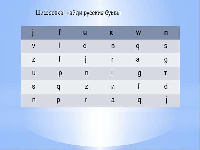 Шифровка: найди русские буквы j f u к w n v l d в q s z f j r а g u р n i g т...