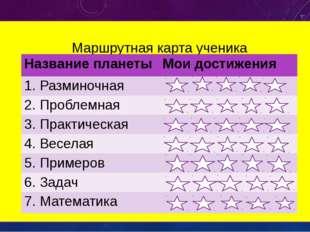 Маршрутная карта ученика Название планеты Мои достижения 1. Разминочная 2. Пр