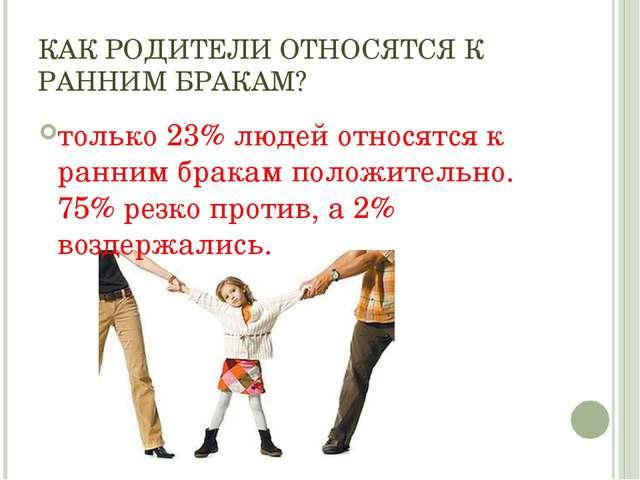 КАК РОДИТЕЛИ ОТНОСЯТСЯ К РАННИМ БРАКАМ? только 23% людей относятся к ранним б...
