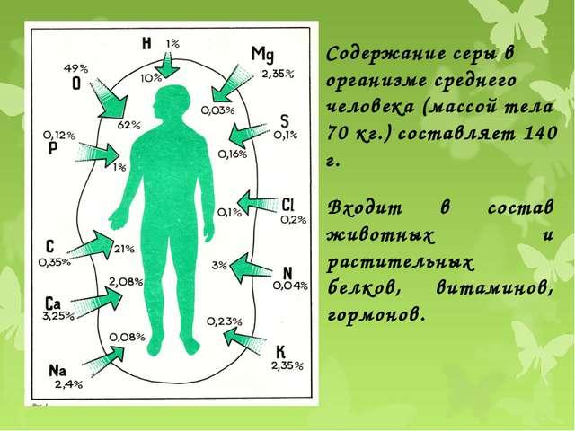 Содержание серы в организме среднего человека (массой тела 70 кг.) составляет...