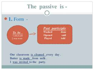 The passive is - 1. Form - To be 1.am,is,are 2.was were Past participle Washe