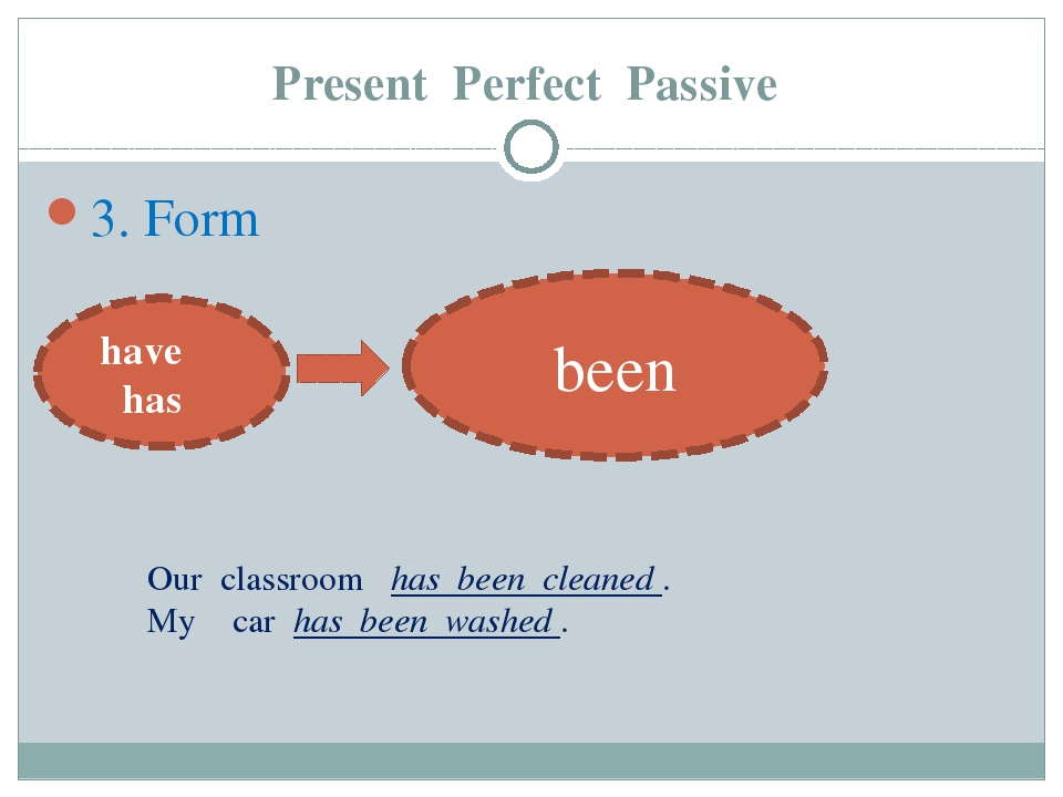 Present Perfect Passive 3. Form have has been Our classroom has been cleaned...