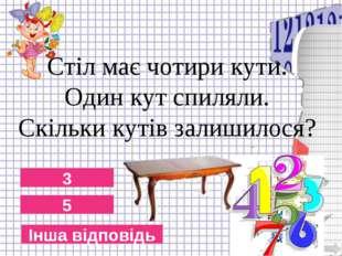 5 3 Інша відповідь Стіл має чотири кути. Один кут спиляли. Скільки кутів зали
