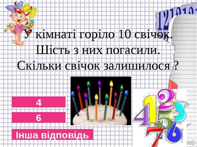 6 4 Інша відповідь У кімнаті горіло 10 свічок. Шість з них погасили. Скільки...