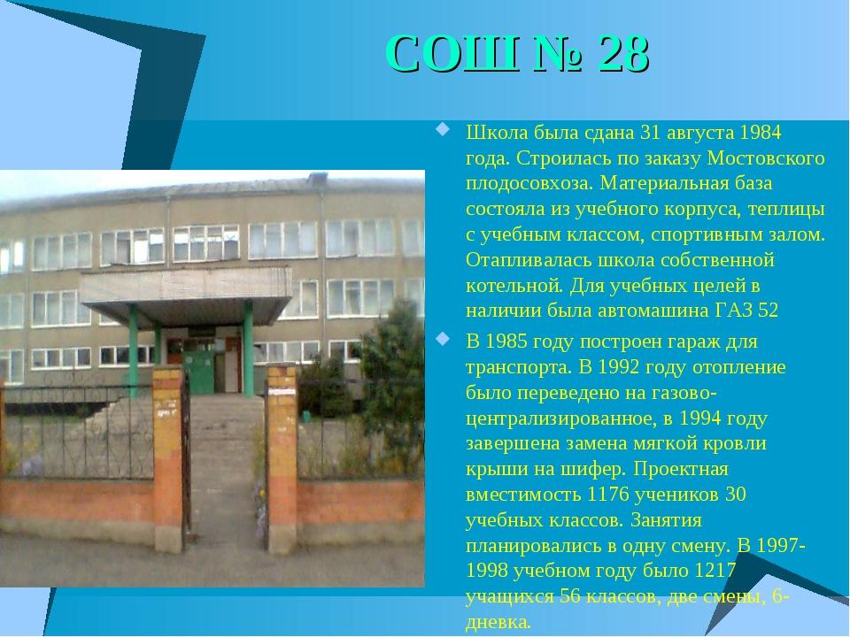СОШ № 28 Школа была сдана 31 августа 1984 года. Строилась по заказу Мостовско...