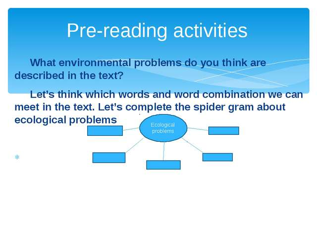 What environmental problems do you think are described in the text? Let's t...