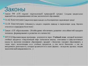 Законы Закон РФ «Об охране окружающей природной среды» (созданы предпосылки п