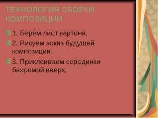 ТЕХНОЛОГИЯ СБОРКИ КОМПОЗИЦИИ 1. Берём лист картона. 2. Рисуем эскиз будущей к