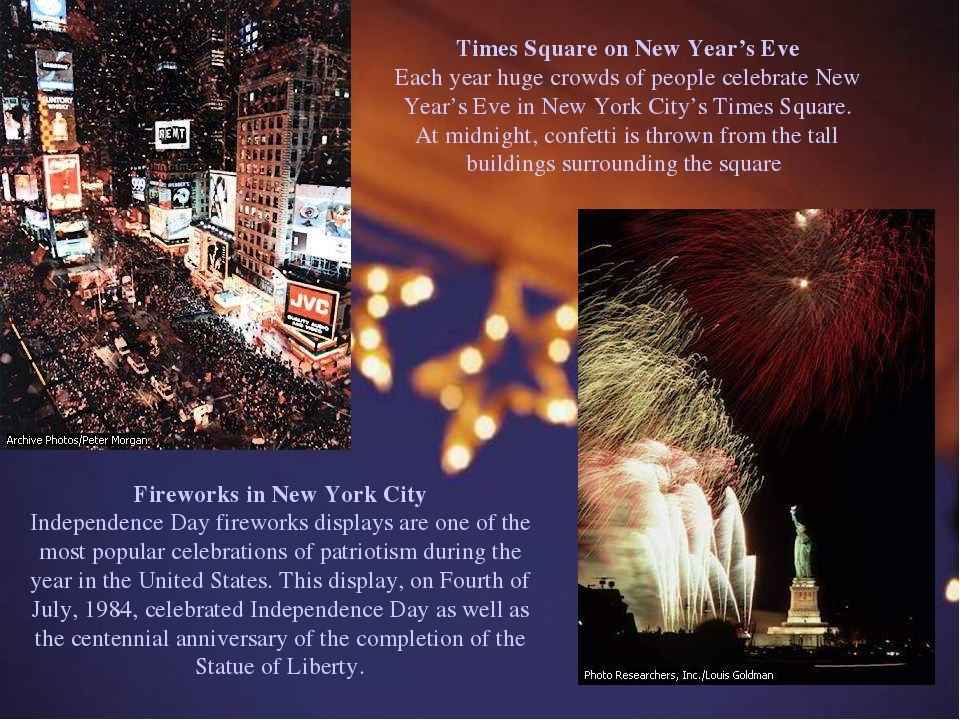 Times Square on New Year's Eve Each year huge crowds of people celebrate New...