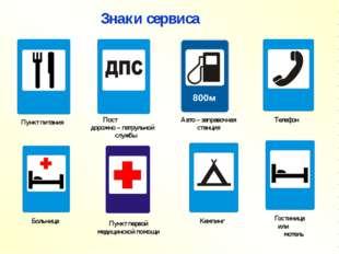Знаки сервиса Пункт питания Пост дорожно – патрульной службы Авто – заправочн