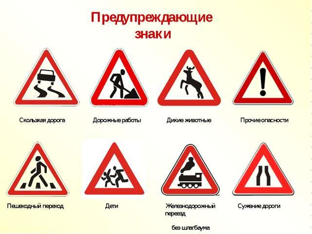 Предупреждающие знаки Скользкая дорога Дорожные работы Дикие животные Прочие...