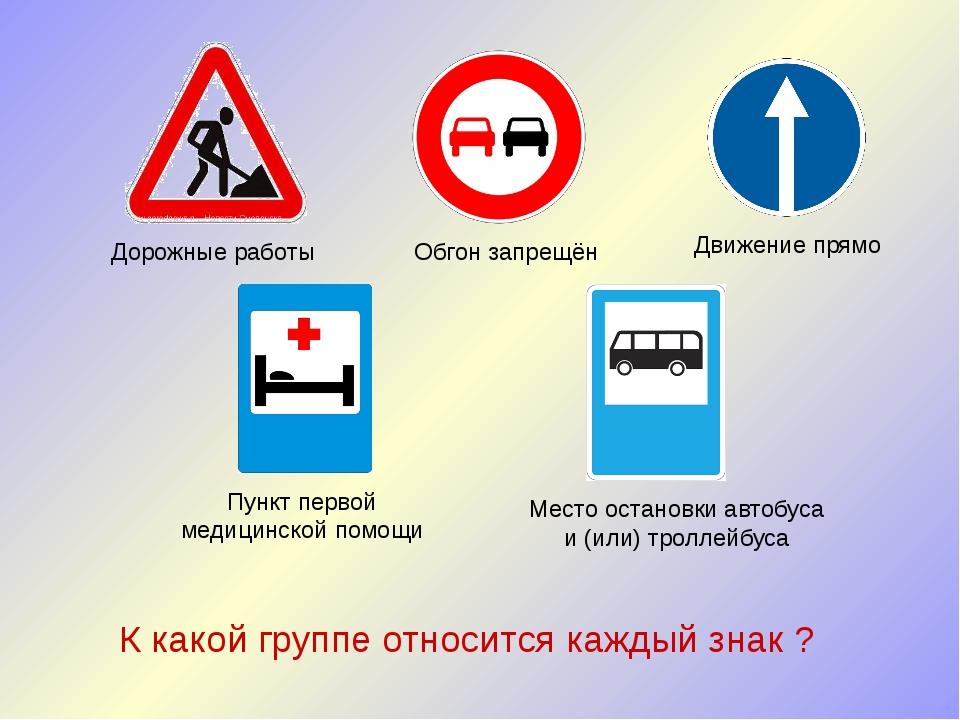 Дорожные работы Обгон запрещён Движение прямо Пункт первой медицинской помощи...