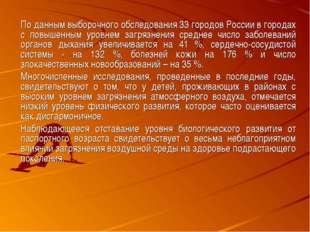 По данным выборочного обследования 33 городов России в городах с повышенным