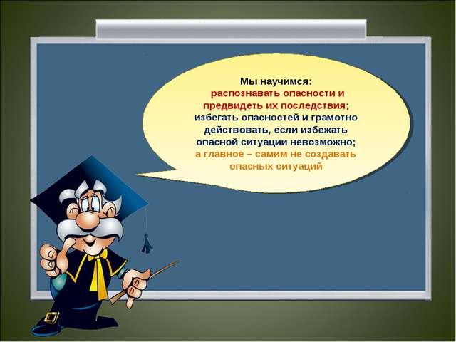 Мы научимся: распознавать опасности и предвидеть их последствия; избегать опа...