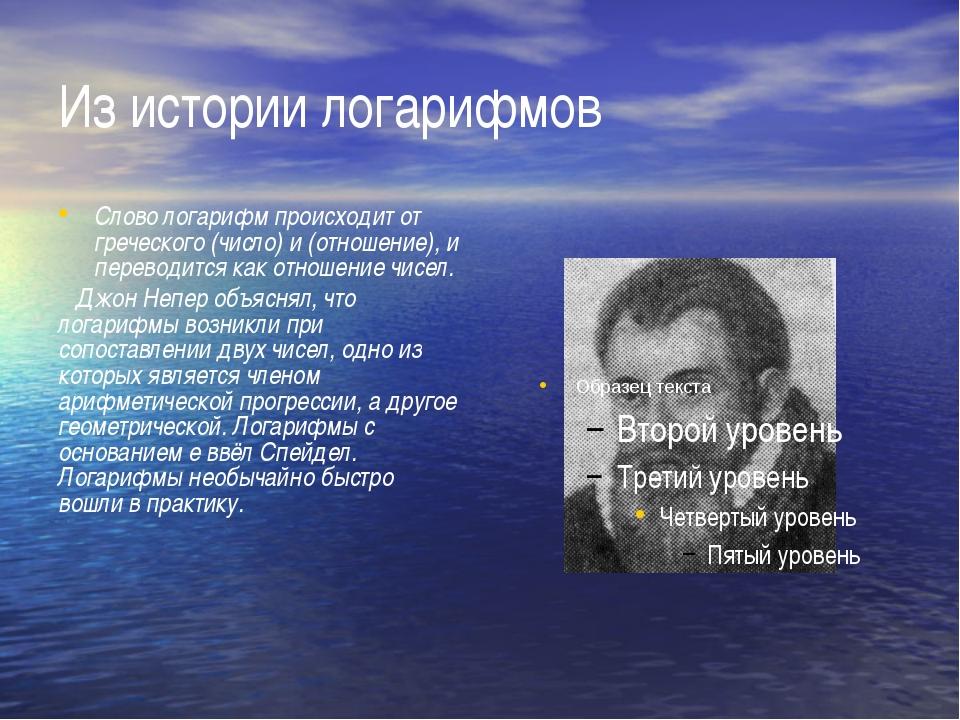 Из истории логарифмов Слово логарифм происходит от греческого (число) и (отно...