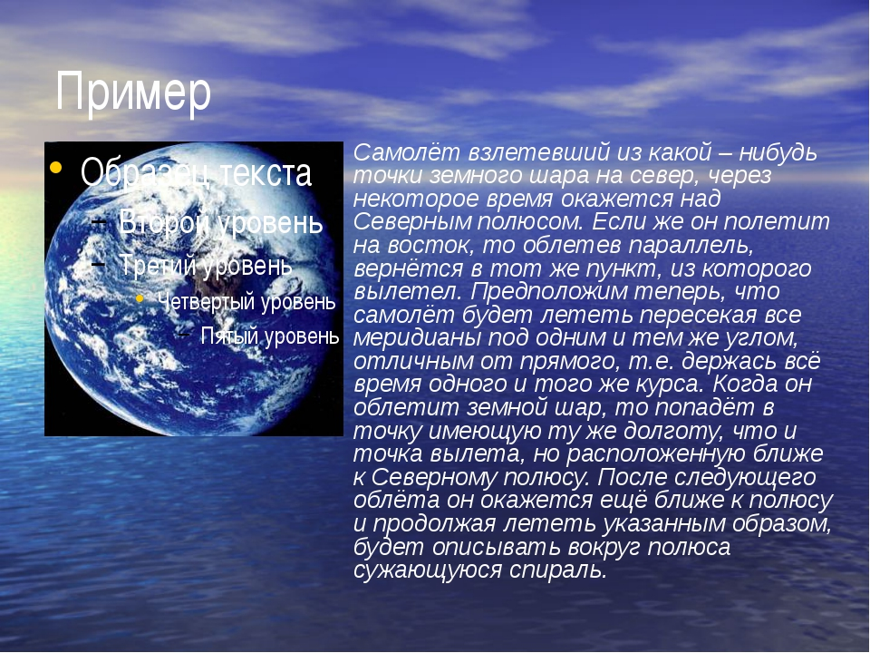 Пример Самолёт взлетевший из какой – нибудь точки земного шара на север, чере...