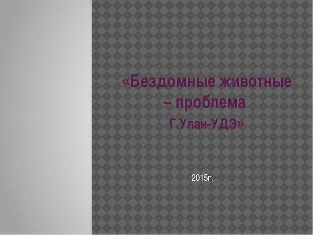 «Бездомные животные – проблема Г.Улан-УДЭ» 2015г.