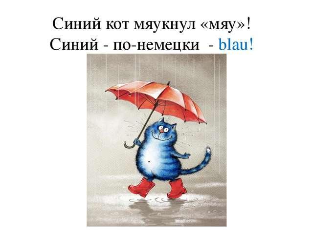 Синий кот мяукнул «мяу»! Синий - по-немецки - blau!
