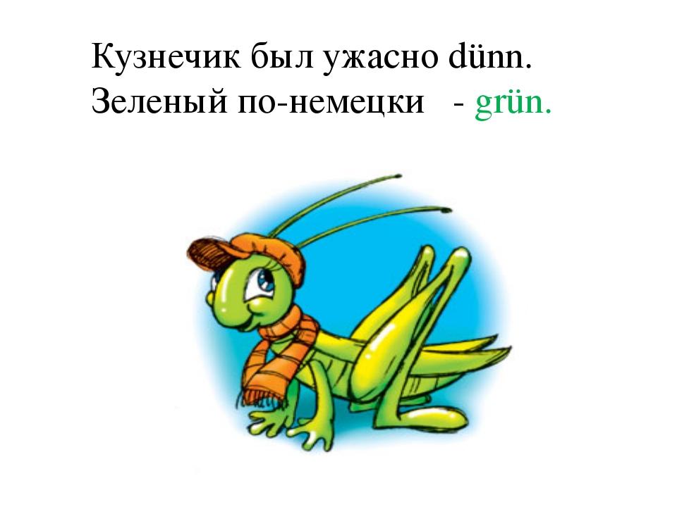 Кузнечик был ужасно dünn. Зеленый по-немецки - grün.