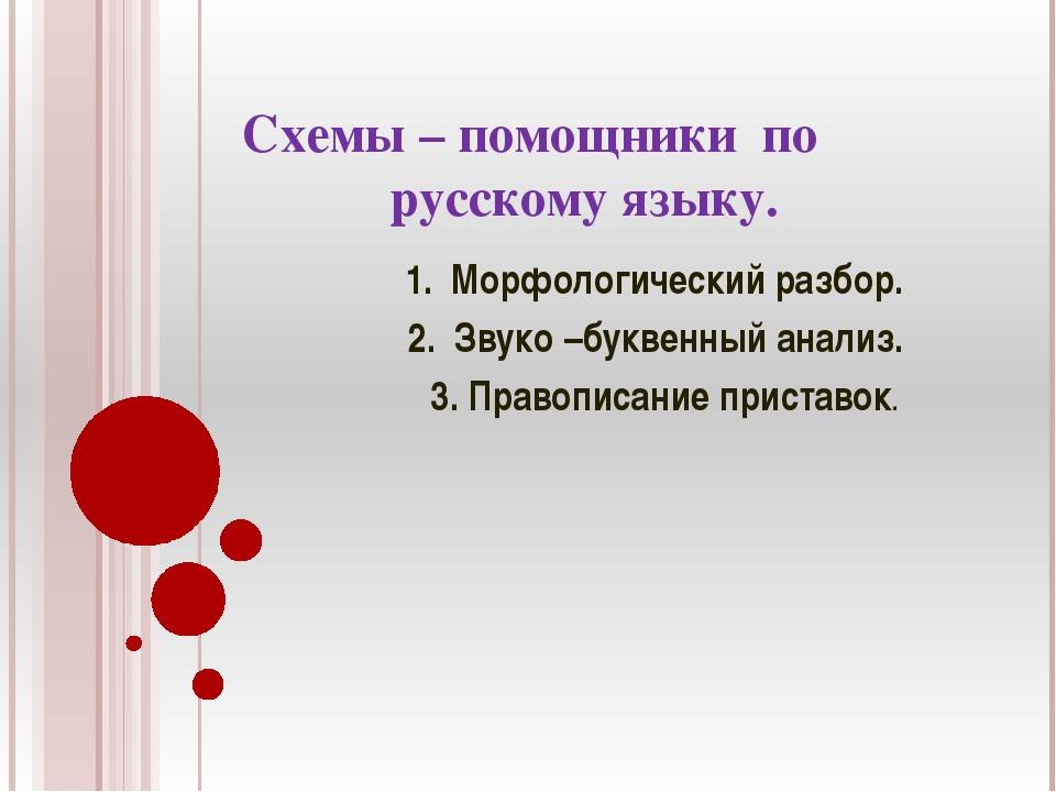 Схемы – помощники по русскому языку. 1. Морфологический разбор. 2. Звуко –бу...
