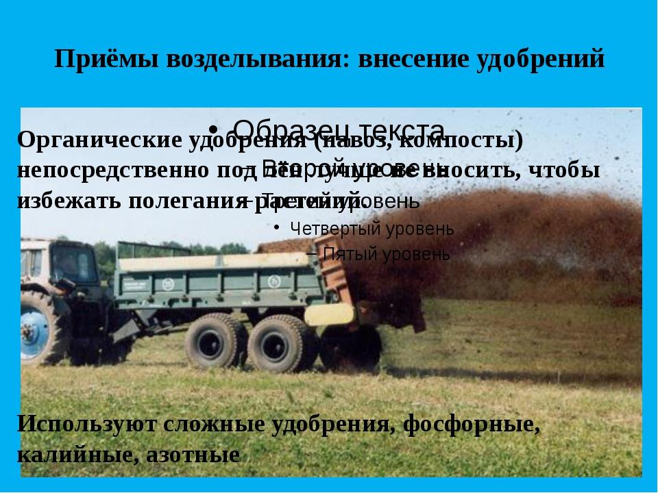 Приёмы возделывания: внесение удобрений Органические удобрения (навоз, компос...