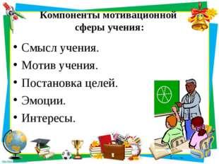 Компоненты мотивационной сферы учения: Смысл учения. Мотив учения. Постановка