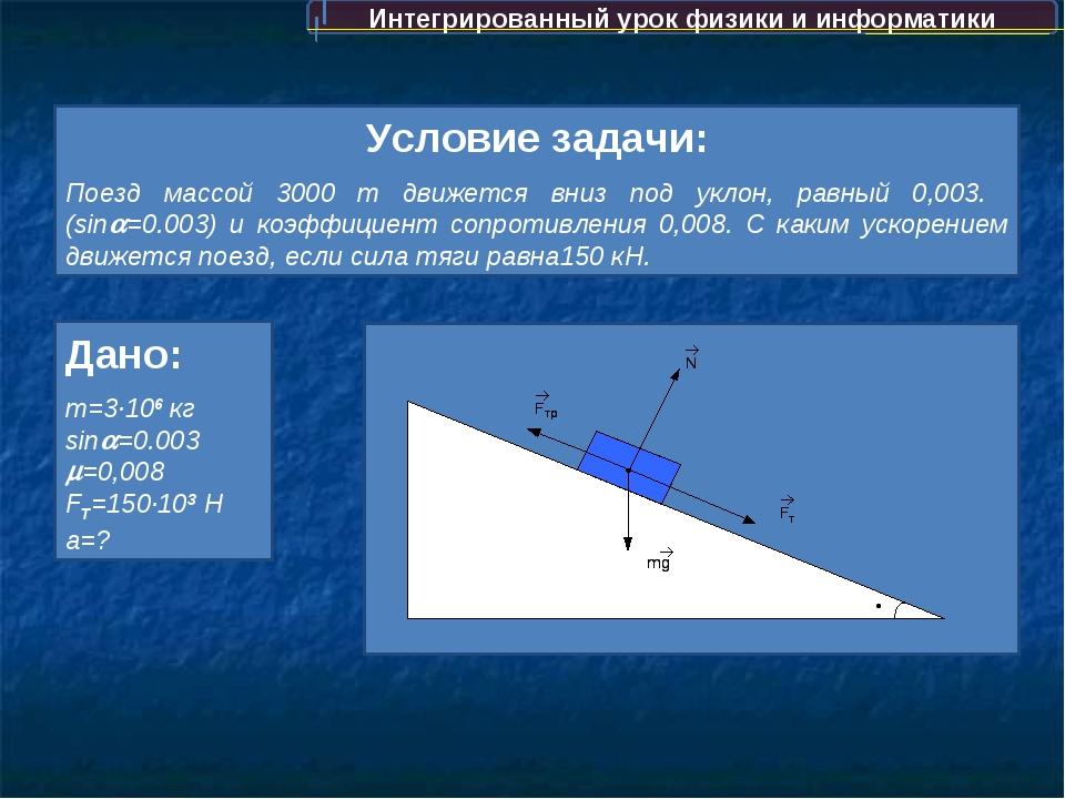 Интегрированный урок физики и информатики Условие задачи: Поезд массой 3000...