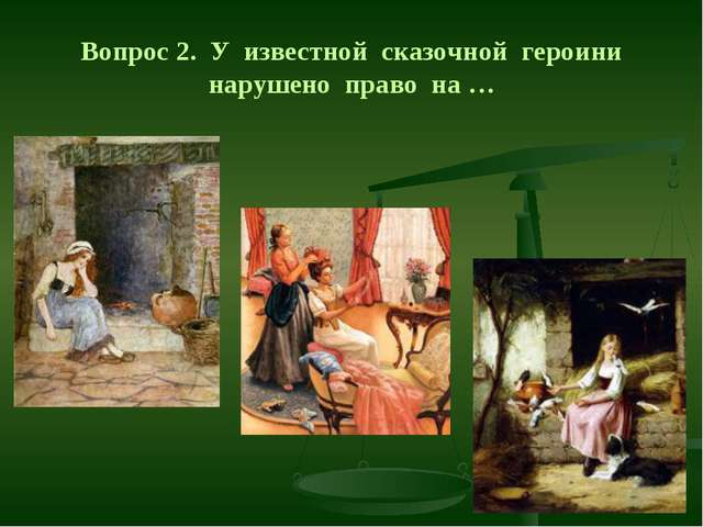 Вопрос 2. У известной сказочной героини нарушено право на …