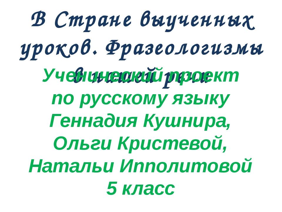 В Стране выученных уроков. Фразеологизмы в нашей речи Ученический проект по р...