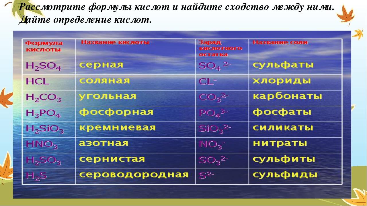 Рассмотрите формулы кислот и найдите сходство между ними. Дайте определение к...
