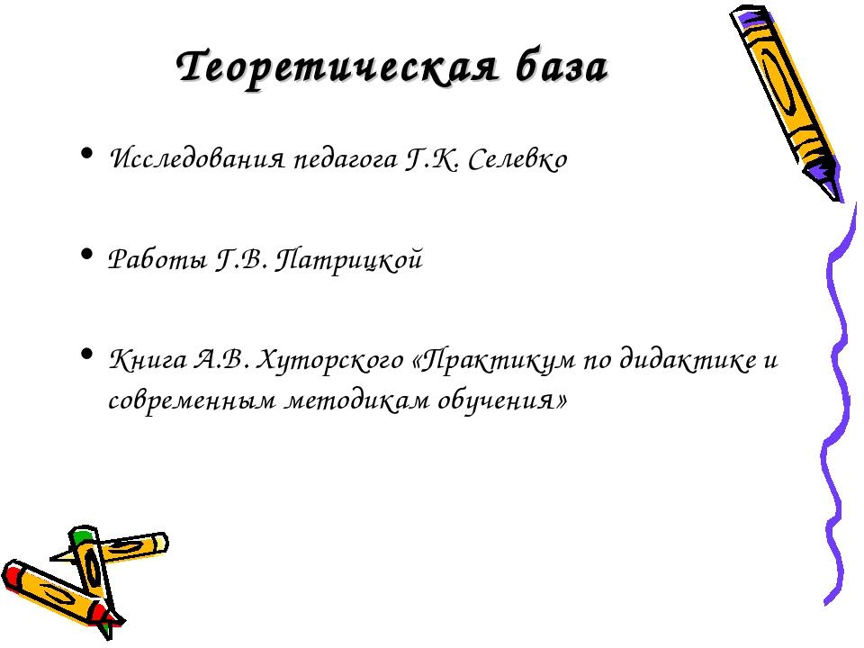 Теоретическая база Исследования педагога Г.К. Селевко Работы Г.В. Патрицкой К...