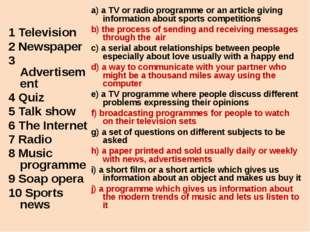 1 Television 2 Newspaper 3 Advertisement 4 Quiz 5 Talk show 6 The Internet 7