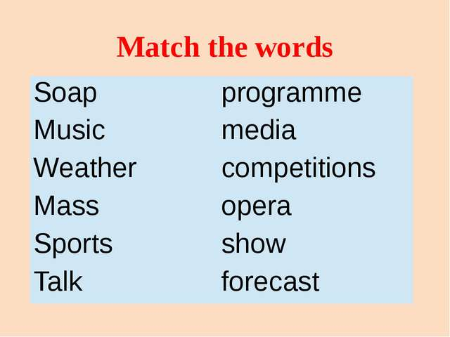 Match the words Soap programme Music media Weather competitions Mass opera Sp...