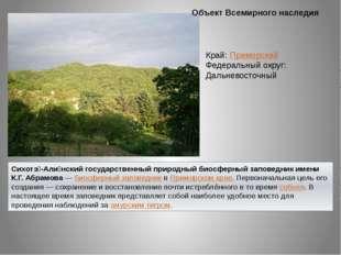 Объект Всемирного наследия Сихотэ́-Али́нский государственный природный биосфе