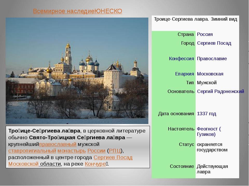 Всемирное наследиеЮНЕСКО Тро́ице-Се́ргиева ла́вра, в церковной литературе обы...