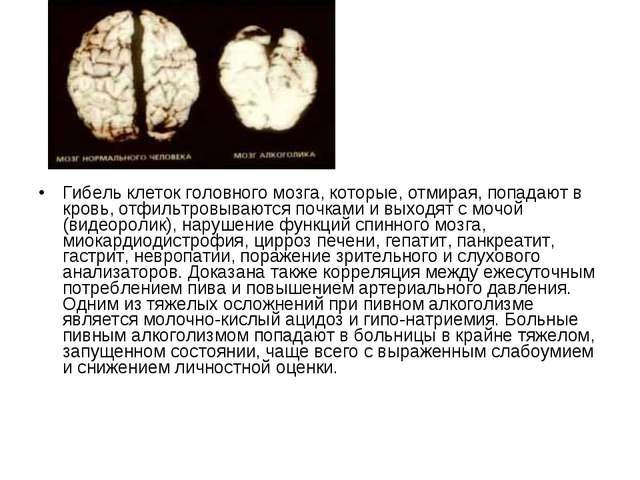 Гибель клеток головного мозга, которые, отмирая, попадают в кровь, отфильтров...
