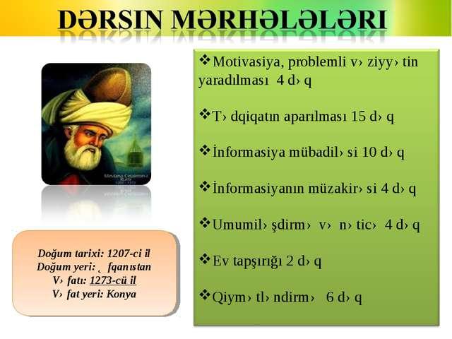Doğum tarixi: 1207-ci il Doğum yeri: Əfqanıstan Vəfatı: 1273-cü il Vəfat yeri...