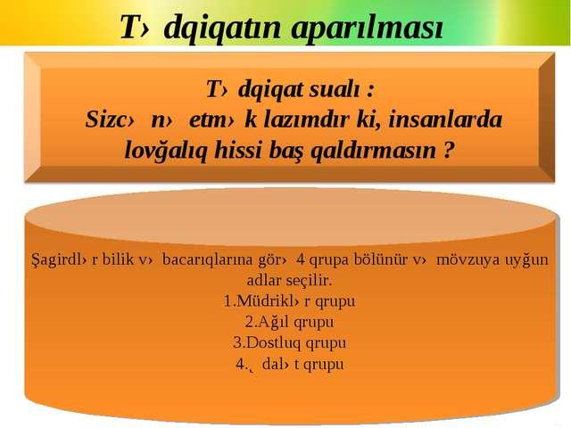 Tədqiqatın aparılması Şagirdlər bilik və bacarıqlarına görə 4 qrupa bölünür v...