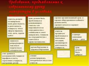 Требования, предъявляемые к современному уроку литературы в условиях введения