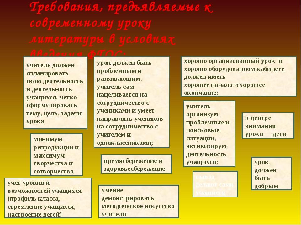 Требования, предъявляемые к современному уроку литературы в условиях введения...